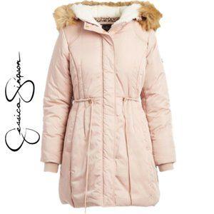 NWT JESSICA SIMPSON Blush Faux Fur Trim Coat